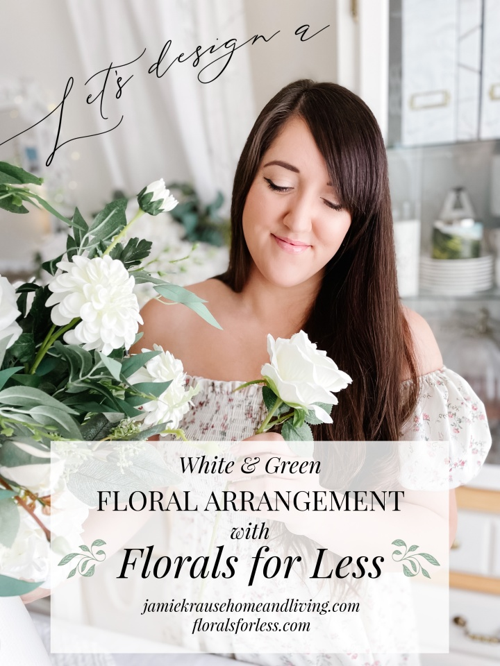 WHITE & GREEN FLORAL ARRANGEMENT WITH FLORALS FORLESS