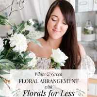 WHITE & GREEN FLORAL ARRANGEMENT WITH FLORALS FOR LESS